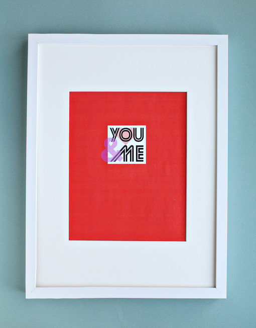"valentines DIY Art Print Printable - ""You and Me"" Quote"