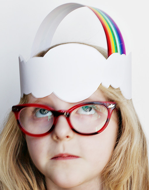 Over the Rainbow and Clouds Crown - DIY printable craft project for kids