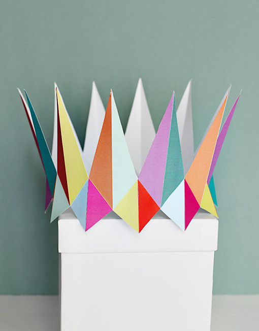 colorful modern crown - DIY paper printable birthday crown for birthday parties