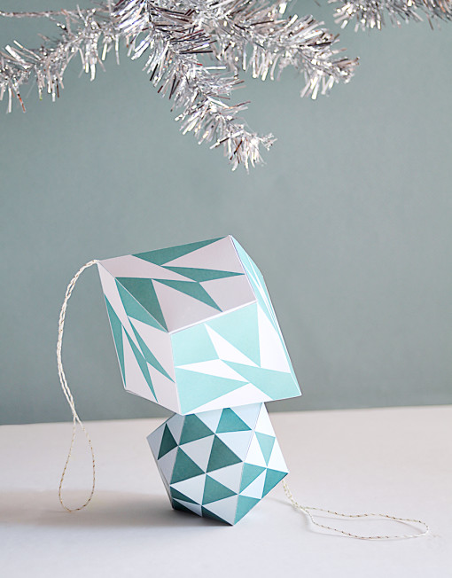 Geo Triangle and Diamond Ornaments - DIY Printable Ornaments for Christmas