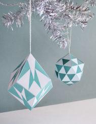 Geo Triangle and Diamond Ornaments - DIY Printable Ornaments for Christmas