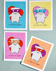 Smallful printable school class valentines with a heart thief